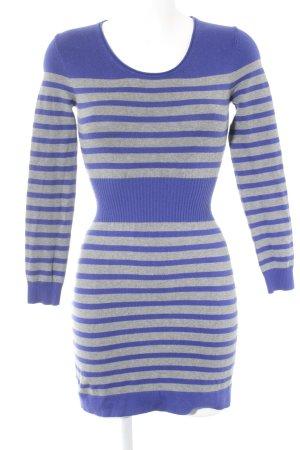 Mango Gebreide jurk blauw-grijs gestreept patroon casual uitstraling