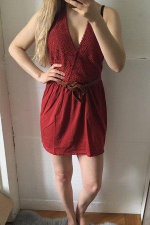 Mango Strickkleid Kleid häkelkleid rot orange XS 34 36 minikleid
