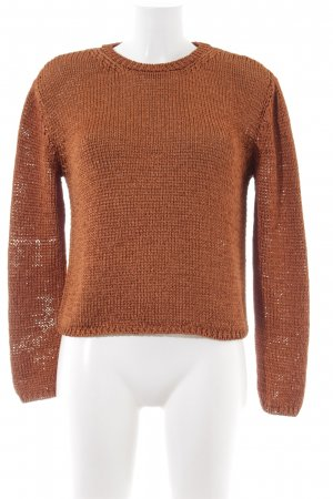 Mango Strickpullover hellorange Zopfmuster Casual-Look