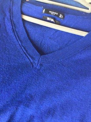 Mango Strickpullover royalblau mit V-Ausschnitt