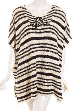 Mango Strickpullover schwarz-wollweiß Streifenmuster Casual-Look