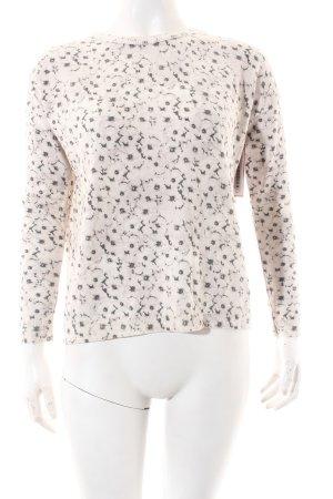 Mango Strickpullover weiß-grau florales Muster Casual-Look