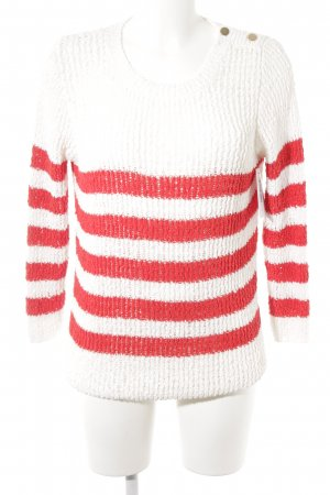 Mango Strickpullover weiß-rot Streifenmuster Casual-Look