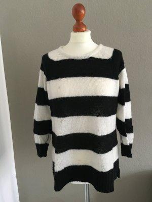 Mango stylischer Pullover Streifen schwarz weiß S
