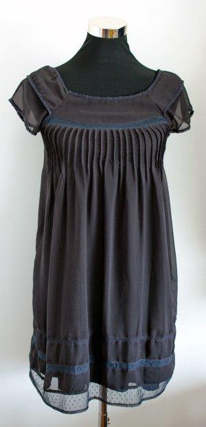 MANGO süßes zartes Empire Kleid mit Unterkleid, dunkelgrau, Gr. XS wie 34/36, ungetragen