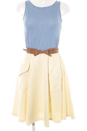 Mango Suit A-Linien Kleid kornblumenblau-hellgelb Streifenmuster Casual-Look
