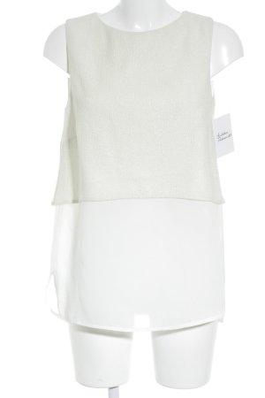 Mango Suit ärmellose Bluse wollweiß-hellbeige Schimmer-Optik