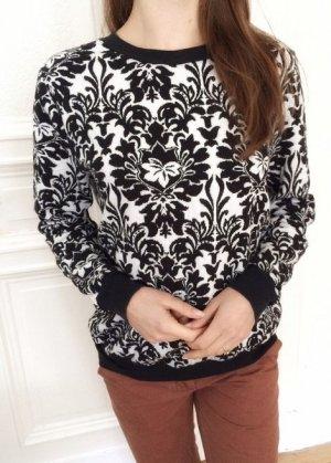 Mango Suit Baumwolle Pulli bequem edel schick schwarz weiß Muster Sweatshirt M 38