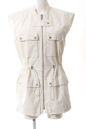 Mango Suit Biker Vest cream casual look