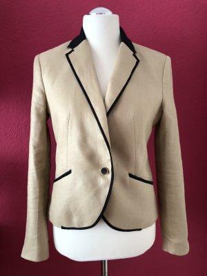 Mango Suit Short Blazer gold-colored-sand brown linen