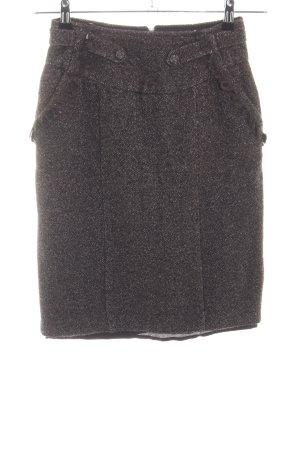 Mango Suit Jupe crayon brun-blanc moucheté style rétro