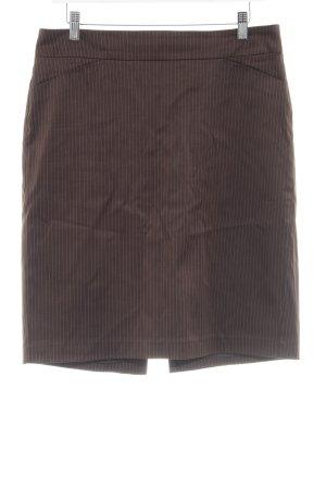 Mango Suit Kokerrok donkerbruin-wit krijtstreep zakelijke stijl