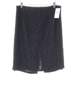 Mango Suit Kokerrok zwart bloemenprint elegant
