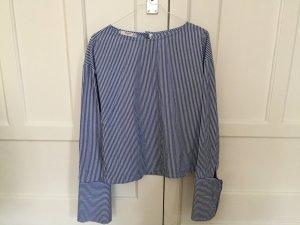 Mango Suit Blouse-chemisier bleu-blanc tissu mixte