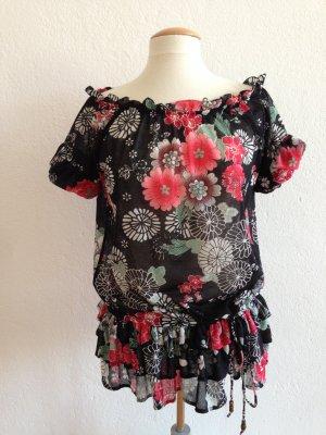 Mango Suit Bluse, Carmen-Bluse, Offshoulder, Flowers, Blumenprint, schwarz, rot, Gr.40