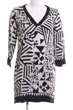 Mango Suit Blusenkleid weiß-schwarz grafisches Muster Casual-Look