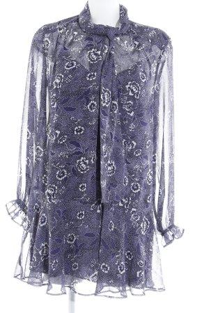 Mango Suit Robe chemisier bleu foncé-blanc cassé motif de fleur