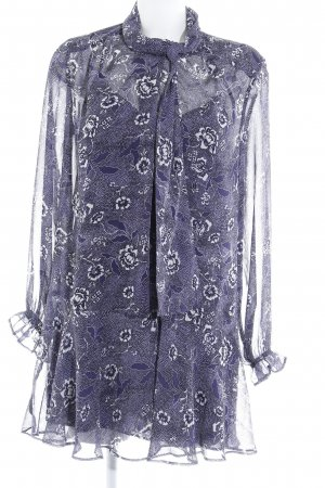 Mango Suit Blusenkleid dunkelblau-wollweiß Blumenmuster Romantik-Look