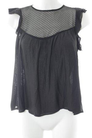 Mango Suit Blusentop schwarz-anthrazit Punktemuster Stoffeinsätze
