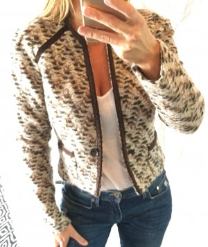 Mango Suit Boucle Blazer Jacke kurz cropped braun Nude xs s 34 36 neu