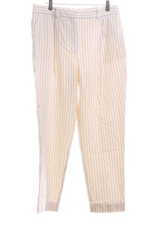 Mango Suit Bundfaltenhose creme-schwarz Streifenmuster Casual-Look