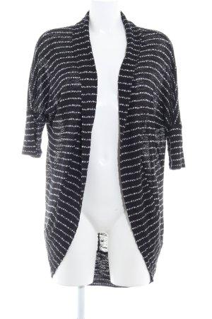 Mango Suit Cardigan black-white horizontal stripes casual look