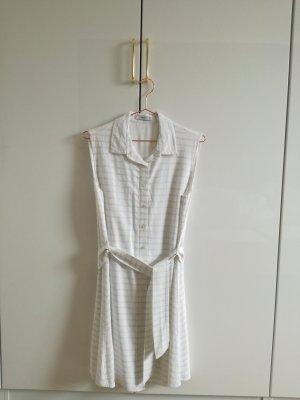 Mango Suit Cremeweiß-grau gestreiftes Kleid (Gr. M)