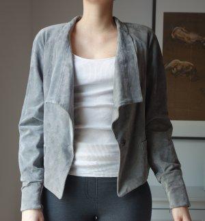 Mango Suit Echtleder Wildleder Jacke vorne lang hinten kürzer Grau überlange Ärmel Gr. M