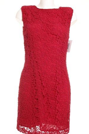 Mango Suit Etuikleid rot florales Muster Spitzen-Optik