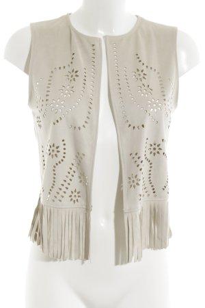 Mango Suit Fringed Vest natural white business style