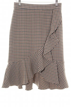 Mango Suit Flared Skirt bronze-colored-brown check pattern business style