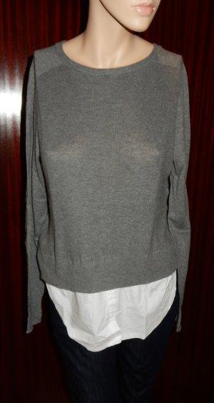 Mango Suit grauer Pulli mit Kaschmir inklusive Fake-Bluse Gr. M