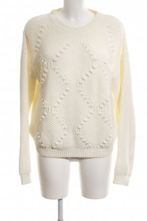Mango Suit Grobstrickpullover wollweiß Zopfmuster Casual-Look