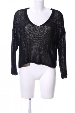 Mango Suit Coarse Knitted Sweater black weave pattern casual look