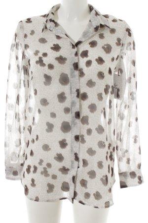Mango Suit Hemd-Bluse abstraktes Muster Transparenz-Optik
