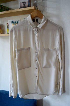 MANGO Suit, Hemdbluse, offwhite mit goldenen Knöpfen