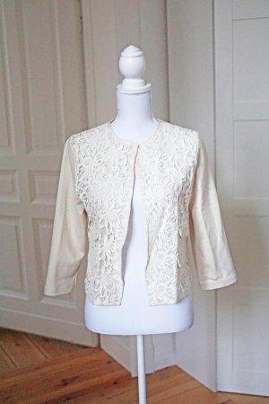 Mango Suit Jacke Blazer Spitze weiß Hochzeit Baumwolle M 38 NEU