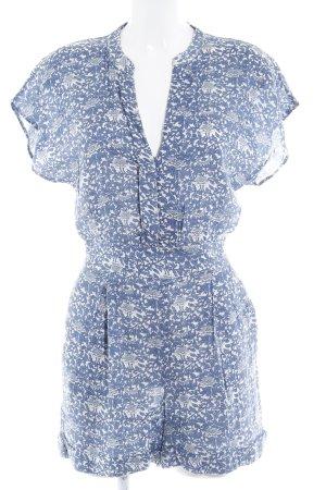 Mango Suit Jumpsuit blassblau-wollweiß florales Muster Beach-Look