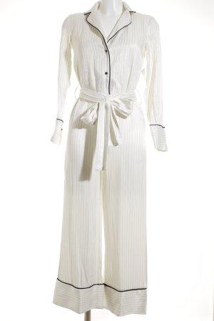 Mango Suit Jumpsuit creme-schwarz Streifenmuster Street-Fashion-Look