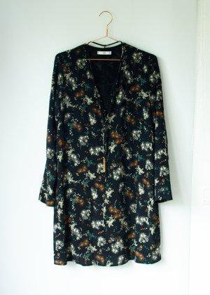 Mango Suit Kleid Blusenkleid schwarz mit Blumenmuster Bänder mit Quasten M 38 40