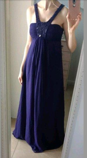 Mango Suit Kleid Maxikleid limited Abendkleid Elfe Seide lila S 36 34
