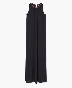 Mango Suit Kleid schwarz Abendkleid Maxikleid Strass orange