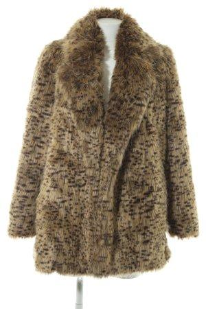 Mango Suit Veste en fausse fourrure doré-brun foncé motif léopard