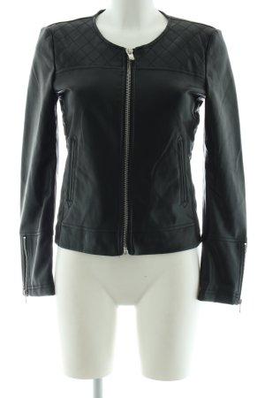 Mango Suit Kunstlederjacke schwarz Karomuster Casual-Look