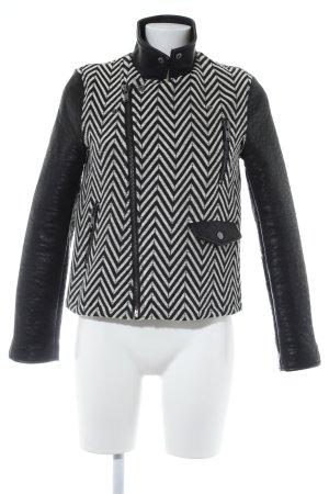 Mango Suit Veste en cuir synthétique noir-blanc motif en zigzag
