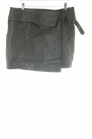 Mango Suit Rok van imitatieleder grijs-bruin simpele stijl