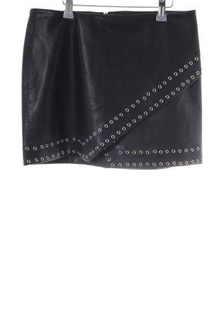 Mango Suit Rok van imitatieleder zwart Biker-look