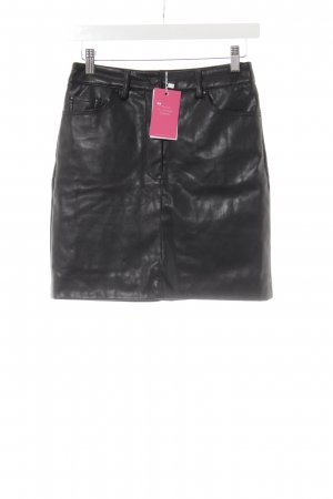 Mango Suit Kunstlederrock schwarz Biker-Look