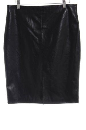 Mango Suit Kunstlederrock schwarz klassischer Stil