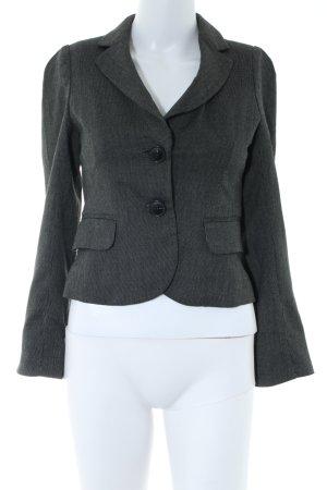 Mango Suit Kurz-Blazer schwarz-hellgrau Webmuster Business-Look